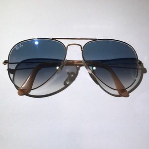 AUTHENTIC RAY BAN GRADIENT BLUE LENSES, GOLD FRAME